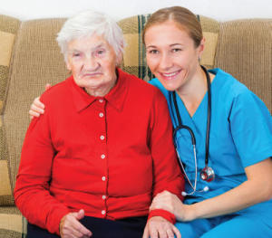 female caregiver with female client